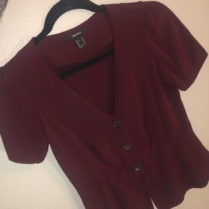 Maroon Peplum Forever 21 Button Top